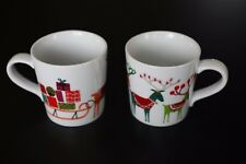 Crate and Barrel 2014 Reindeer Sled Christmas Holiday Mugs, Jenny Bowers