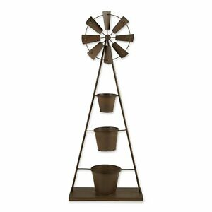 Stylish Brown Iron Windmill Gorgeous Greenery Plant Stand Indoor Outdoor Decor