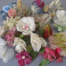 Lot Vintage Millinery Flowers Pink Cream Blue Velvet Silk Roses Butterflies +