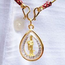 Exquisit! Kwanyin Guanyin Goddess Chinese Pendant 18k Gold Thai Amulet Charm