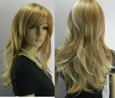 brown &light blonde mix long straight full WIG + wig cap