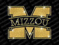 Univ. of Missouri (Mizzou) - Bling - Iron-on Glitter Vinyl/Rhinestone Transfer