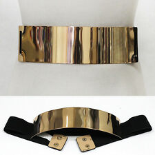 Women Wide Stretch Elastic Metallic Mirror Metal Gold Plate Waist Belt Black Obi