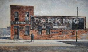 "STREET SCENE framed oil by Robert William Addison American Contemporary 35""x23"""
