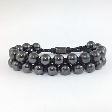 MEN'S SILVER HEMATITE DOUBLE LAYER BEADED BLACK JEWELRY GEMSTONE WRAP BRACELET