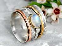 Meditation Spin Spinner Ring Moonstone Sterling Silver Wide Band Ring Jewelry