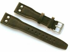 20mm Brown Nostalgic Leather Military Pilot Aviator Style Men's Watch Strap