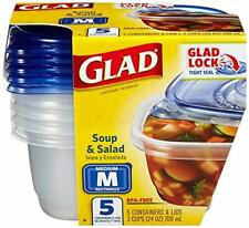 Glad Food Storage Containers -Soup and Salad Containers 24 Ounce- 5 Count M size