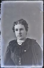Antique 4x6 Glass Plate Negative Young Woman in a Elegant Black Dress (V3791)