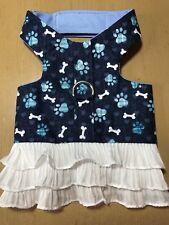Hand Made Dog Harness Blue Lace Dress  L (1437)