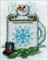 """Design Works Counted Cross Stitch Kit 2""""X3"""" Cocoa Snowman (14 Cou 021465005195"""
