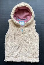Girls 9-10 MINI BODEN Oatmeal Cozy Fuzzy Faux Fur Hooded Vest ~Fall BTS~