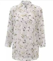 Cabi #5204 XS Matinee Button Down Blouse Gray Floral Sheer Long Sleeves