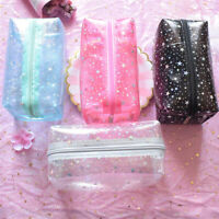 Transparent PVC Travel Cosmetic Makeup Toiletry Wash Star Print Pouch Zipper Bag