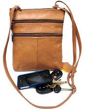 5 Zipper Pocket Genuine Leather Every Day Purse Shoulder Cross Body Slim 7 Color