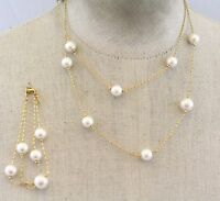 PREMIER DESIGNS Golden Chain Faux Pearls /  Necklace Double Strand Bracelet Set