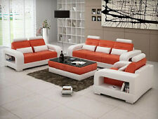 Sofagarnitur Polster Sofa Couch Leder Garnitur Wohnlandschaft 3+2+1 H2209 Set