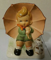 Vintage Napco Little Boy With Umbrella & His Puppy Planter