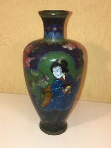 Fine Rare Antique Japanese Ginbari Cloisonne Geisha girl Vase perfect condition