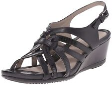 ECCO women's TOUCH 45 Wedge DRESS SANDALS Reptile Leather BLACK EU 41,US 10-10.5