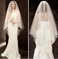 Women Pure white Bride Wedding Embroidery 2 layers Wedding Hair head Veil COMB