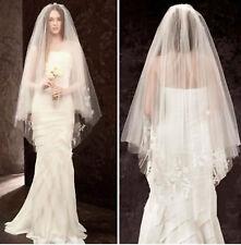 Women Pure white Bride Wedding Embroidery 2 layers Wedding Hair head Veil COMB