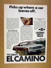 1975 Chevrolet Chevy El Camino photo vintage print Ad