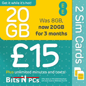 2 X EE NANO SIM CARD  - £15 DAY PACK - DATA ROLLOVER - FITS ALL PHONES