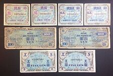 Allied Japanese Military Currency. 10 50 Sen & 5 100 Yen. 8 Notes.