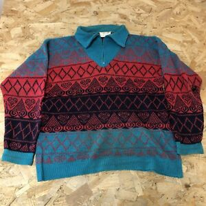 Vintage 1/4 Zip Knitted Jumper S Small Jump Knitwear Blue/red B6041