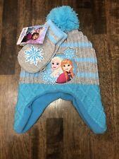 Disney's Toddler Frozen Anna Elsa Beanie Hat And Mittens Gloves Art. Retail $18