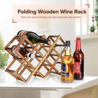 10 Bottle Foldable Wooden Wine Bottle Holder Natural Wine Shelves Display US