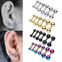 Pair 16G Stainless Steel Ear Cartilage Bar Helix Barbell Ear Stud Earring Gift