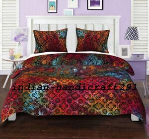 Indian Mandala Quilt Duvet Cover Queen Bedding Cotton Doona Cover Blanket Set