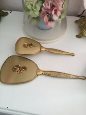 Vintage Antique Gold Finish Vanity Dresser Set Hand Mirror Brush Comb Rose Patte