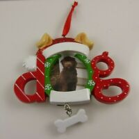 dog Photo frame holiday Christmas Ornament Xmas Bone Santa hat