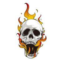 Totenkopf Schädel Flammen Sticker Aufkleber Schrei Auto Motorrad Feuer Flames