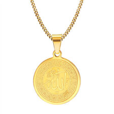 Gold Men Allah Pendant Necklace Surgical Prayer Chain Stainless Steel Round Gift