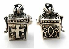 Sterling Silver Prayer Box Pendant Religious Cross Opens Vintage For Necklace