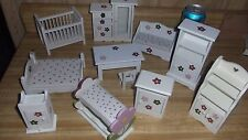 Doll House furniture , white, hearts & flowers pattern 11 pieces, matching, exc