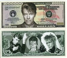 Limited Edition David Bowie Million Dollar Bill Novelty Color Note 2016