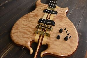 Alembic Custom Stinger Omega lined fretless Bass guitar w LED's 5A Quilted Maple