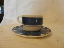 Blue and White Ironstone Coffee Cup and Saucer from Valdarno of Italy