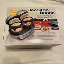New Hamilton Beach Silver Dual Breakfast Sandwich Maker w/Timer Dishwasher Safe