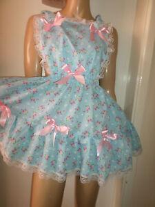 ADULT BABY SISSY BLUE FLORAL DOT BIB TOP DRESS FRILLY RUFFLE HEM  LACE TRIM PINK