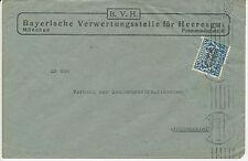"""BAYERN """"MÜNCHEN / 2"""" Maschine-Stpl. a. Pra.-Dienstsache Dienstmarke Wappen 20 Pf"""