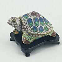 "Vintage Cloisonne Turtle Trinket Box with Wood Base 2 1/2"" Brass Enamel"