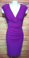Ralph Lauren Ruched Wrap Cocktail Dress Purple Sleeveless Womens Size 12