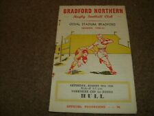 VINTAGE RUGBY LEAGUE PROGRAMME BRADFORD NORTHERN V HULL (YC) 29TH AUGUST 1959
