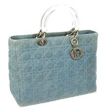 Auth Christian Dior Lady Dior Cannage Hand Bag Blue Denim Italy Charm V14197